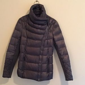 Silver jacket with diagonal zipper BCBGMaxAzria